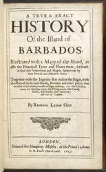 A True & Exact History Of The Island Of Barbados -Title Page